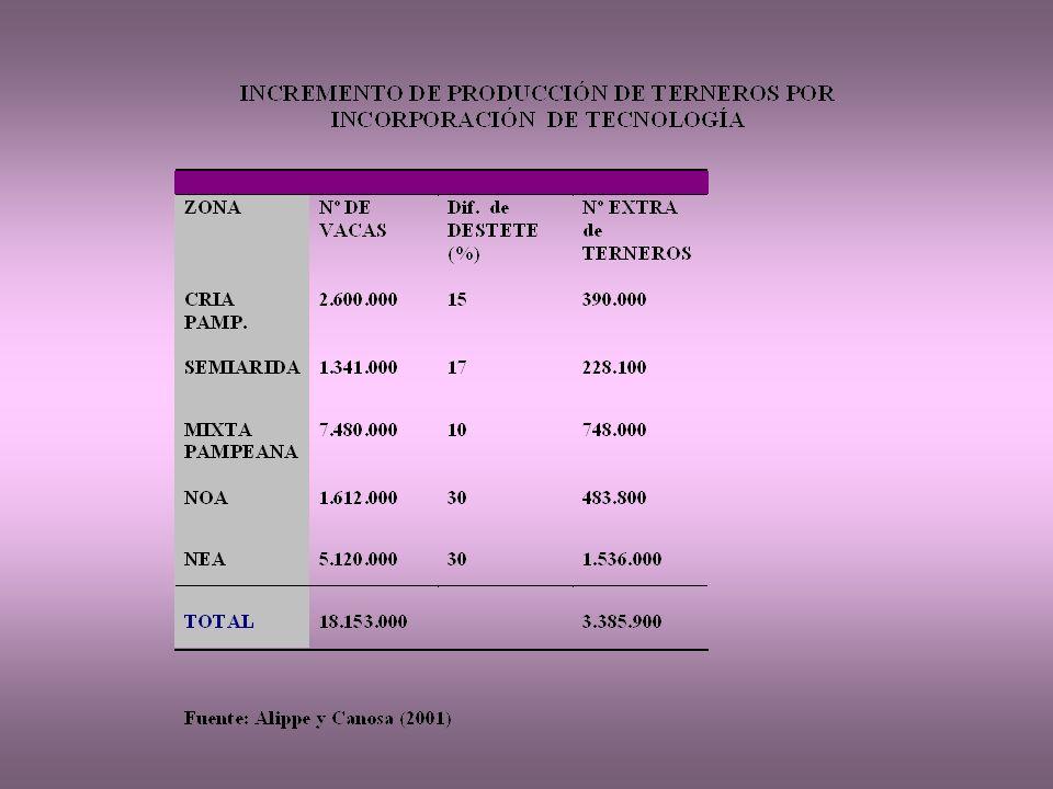 EVOLUCION RELATIVA DEL RODEO NACIONAL 23/25% 1996: 62,0 % 2002: 75,,0 % 1996: 1,49% 2002: 1,86% 1996: 7,4% 2002: 4,7% 1996: 22,7% 2002: 15,0% Fuente: Rearte (1996, ) 1996: 6,5% 2002: 3,4% Stock (2002) :48,0 millones de cab Sagpya ( 2004 )