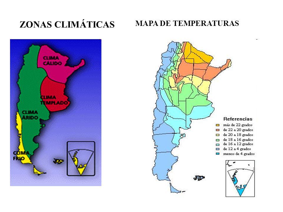 ZONAS CLIMÁTICAS MAPA DE TEMPERATURAS