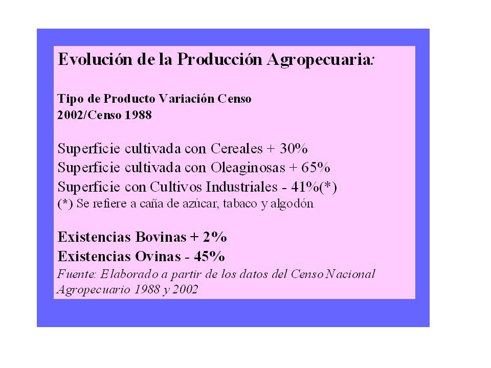 CNA 2002 (resultados provisorios) Superficie implantada en primera ocupación: 32,9 millones de hectáreas