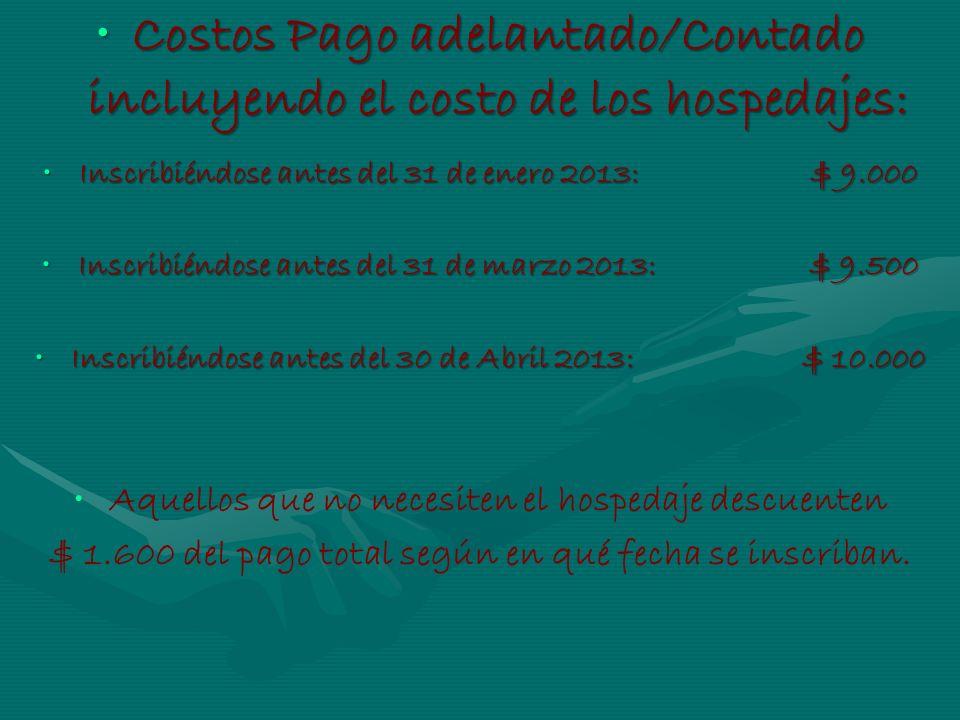 Costos Pago adelantado/Contado incluyendo el costo de los hospedajes:Costos Pago adelantado/Contado incluyendo el costo de los hospedajes: Inscribiénd