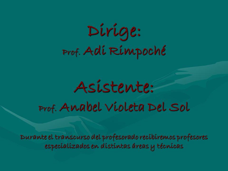 Dirige: Prof. Adi Rimpoché Asistente: Prof. Anabel Violeta Del Sol Durante el transcurso del profesorado recibiremos profesores especializados en dist
