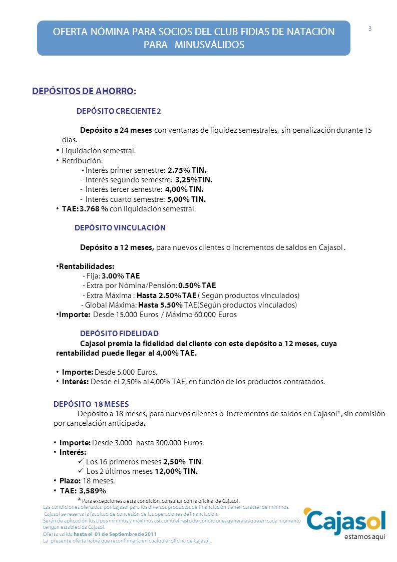OFERTA NÓMINA PARA SOCIOS DEL CLUB FIDIAS DE NATACIÓN PARA MINUSVÁLIDOS 3 Las condiciones ofertadas por Cajasol para los diversos productos de financi