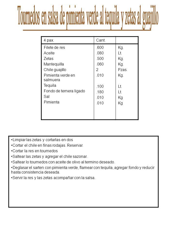 4 pax.Cant. Filete de res Aceite Zetas Mantequilla Chile guajillo Pimienta verde en salmuera Tequila Fondo de ternera ligado Sal Pimienta.600.080.500.