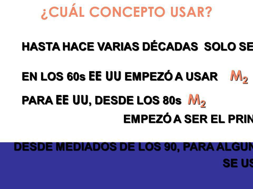 ¿CUÁL CONCEPTO USAR? EN ECUADOR : HASTA LOS 80: SE USÓ M 1 DESDE LOS 90: SE USÓ M 2