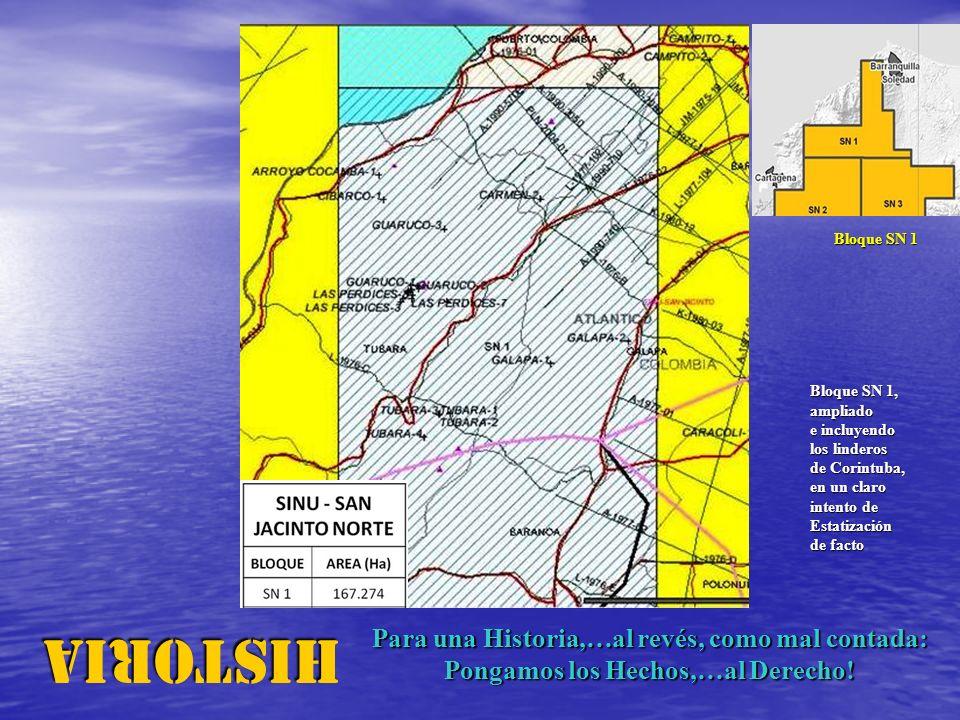 HISTORIA Bloque SN 1 Bloque SN 1, ampliado e incluyendo los linderos de Corintuba, en un claro intento de Estatización de facto Para una Historia,…al