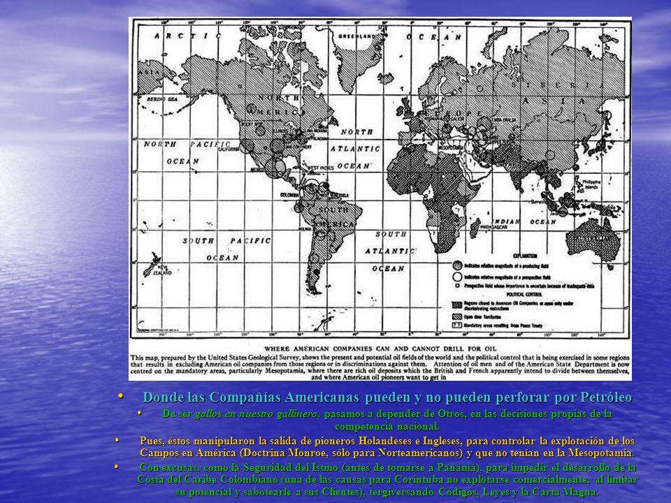 Regiones en donde se encontró Petróleo Regiones en donde se encontró Petróleo Dentro de los prospectivos Campos de Petróleo, divididos en seis Distritos (izq.), ya se encontraba incluida la Costa Caribe (de Riohacha hasta el Golfo de Urabá) ; desde 1910 y lo que ahora la renombra como la Cuenca Sinú-San Jacinto y en donde ya habían varios Pozos (abajo), en Las Perdices, hasta produciendo una cierta cantidad de Gas.