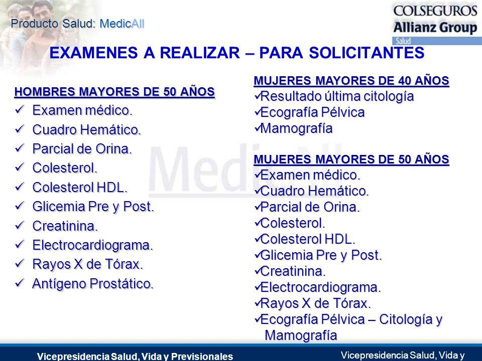 Producto Salud: MedicAll Vicepresidencia Salud, Vida y Previsionales Vicepresidencia Salud, Vida y Previsionales Julio 2.0041 de Septiembre de 2004 HO
