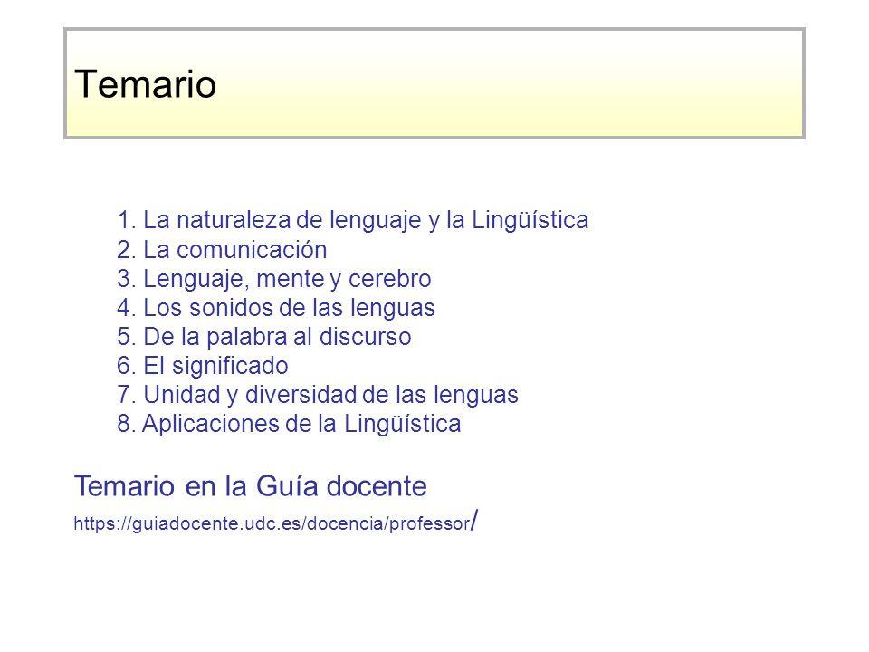 Temario 1.La naturaleza de lenguaje y la Lingüística 2.