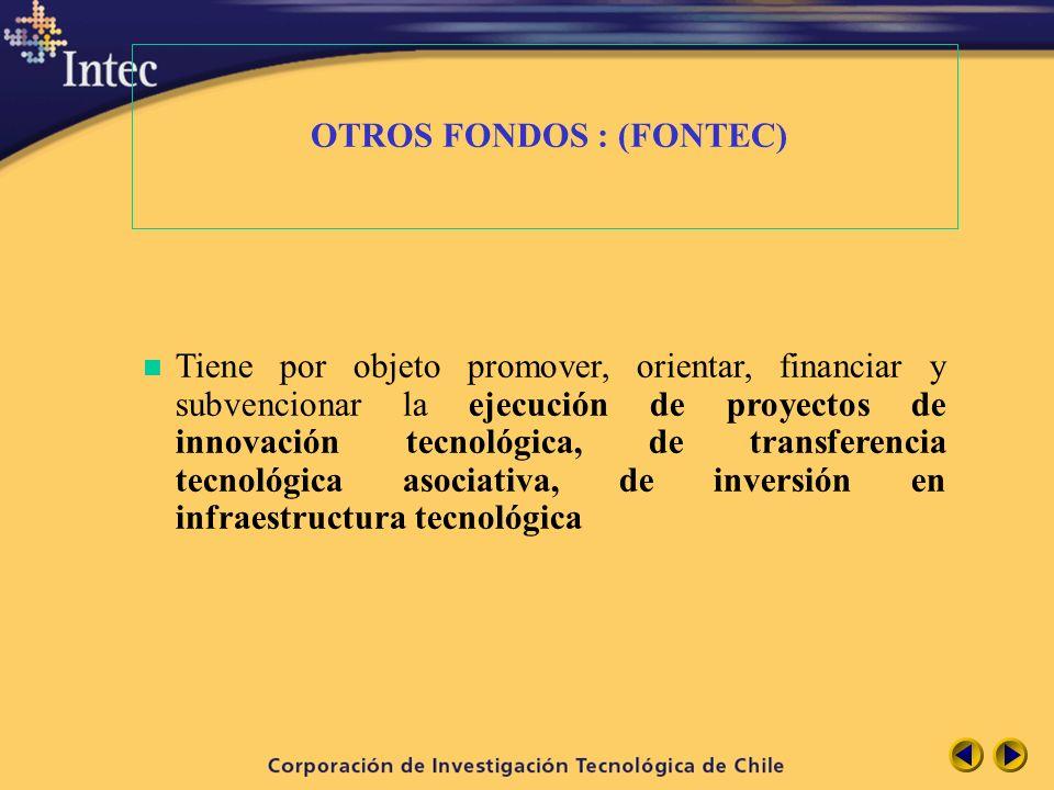 OTROS FONDOS : (FONTEC) n Tiene por objeto promover, orientar, financiar y subvencionar la ejecución de proyectos de innovación tecnológica, de transf