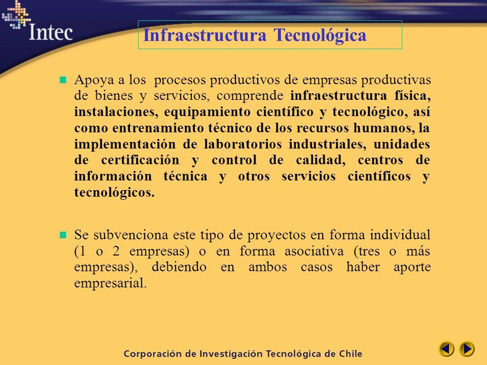 n Apoya a los procesos productivos de empresas productivas de bienes y servicios, comprende infraestructura física, instalaciones, equipamiento cientí