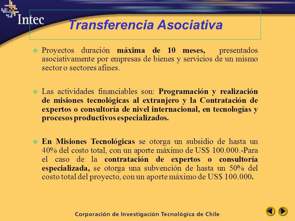 Transferencia Asociativa Proyectos duración máxima de 10 meses, presentados asociativamente por empresas de bienes y servicios de un mismo sector o se