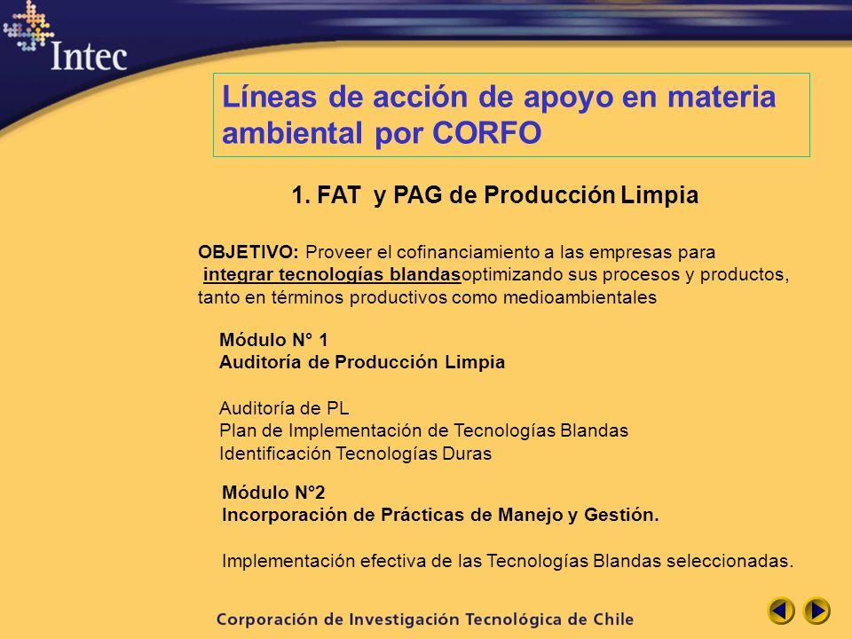 Líneas de acción de apoyo en materia ambiental por CORFO 1. FAT y PAG de Producción Limpia OBJETIVO: Proveer el cofinanciamiento a las empresas para i