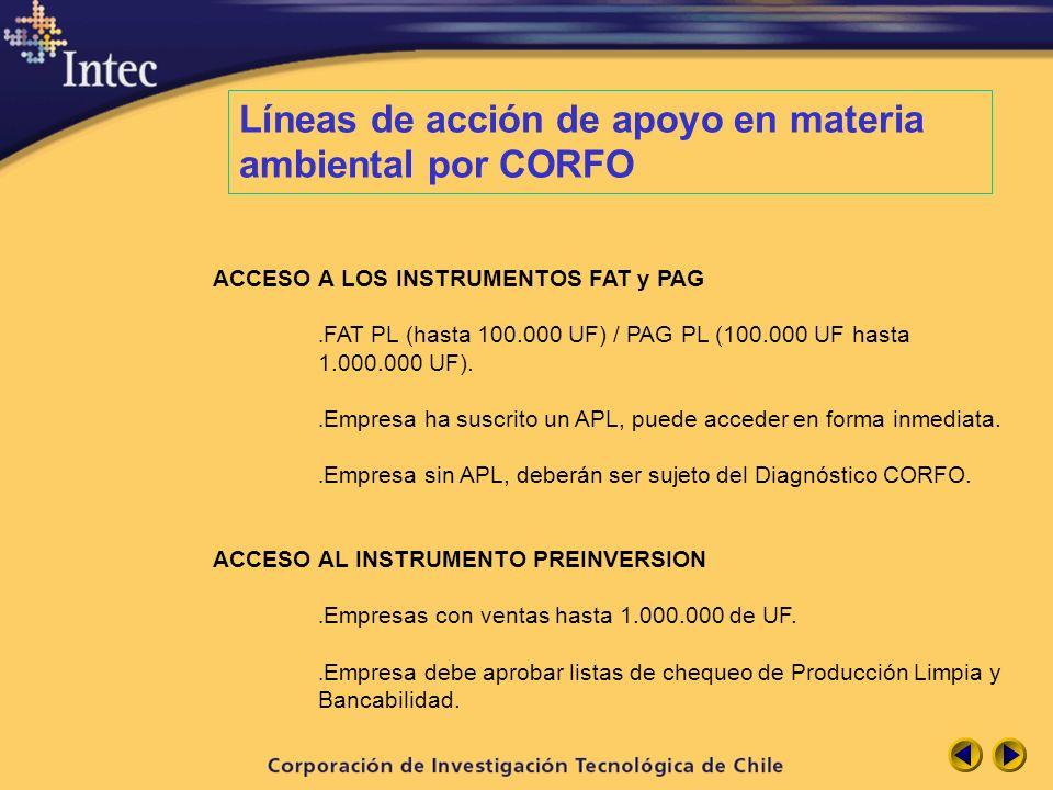 Líneas de acción de apoyo en materia ambiental por CORFO ACCESO A LOS INSTRUMENTOS FAT y PAG. FAT PL (hasta 100.000 UF) / PAG PL (100.000 UF hasta 1.0