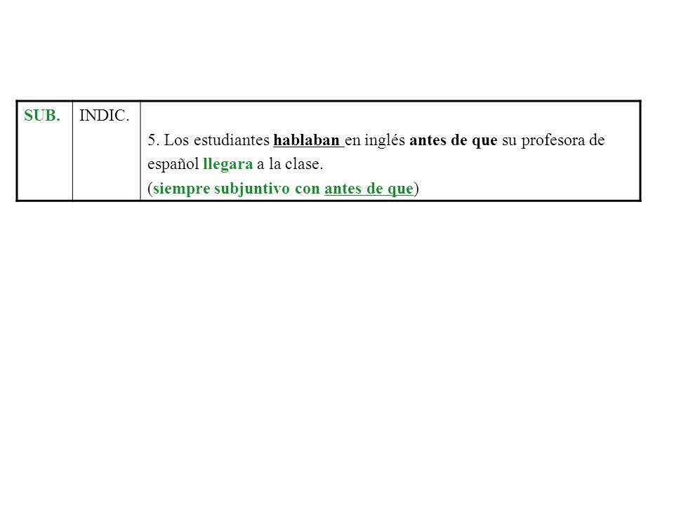SUB.INDIC. 5. Los estudiantes hablaban en inglés antes de que su profesora de español llegara a la clase. (siempre subjuntivo con antes de que)