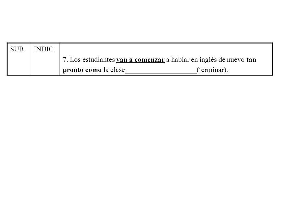 SUB.INDIC. 7. Los estudiantes van a comenzar a hablar en inglés de nuevo tan pronto como la clase____________________(terminar).