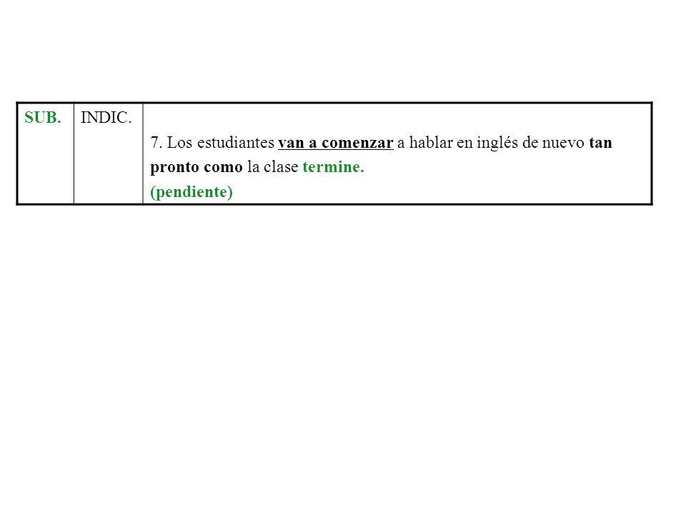 SUB.INDIC. 7. Los estudiantes van a comenzar a hablar en inglés de nuevo tan pronto como la clase termine. (pendiente)
