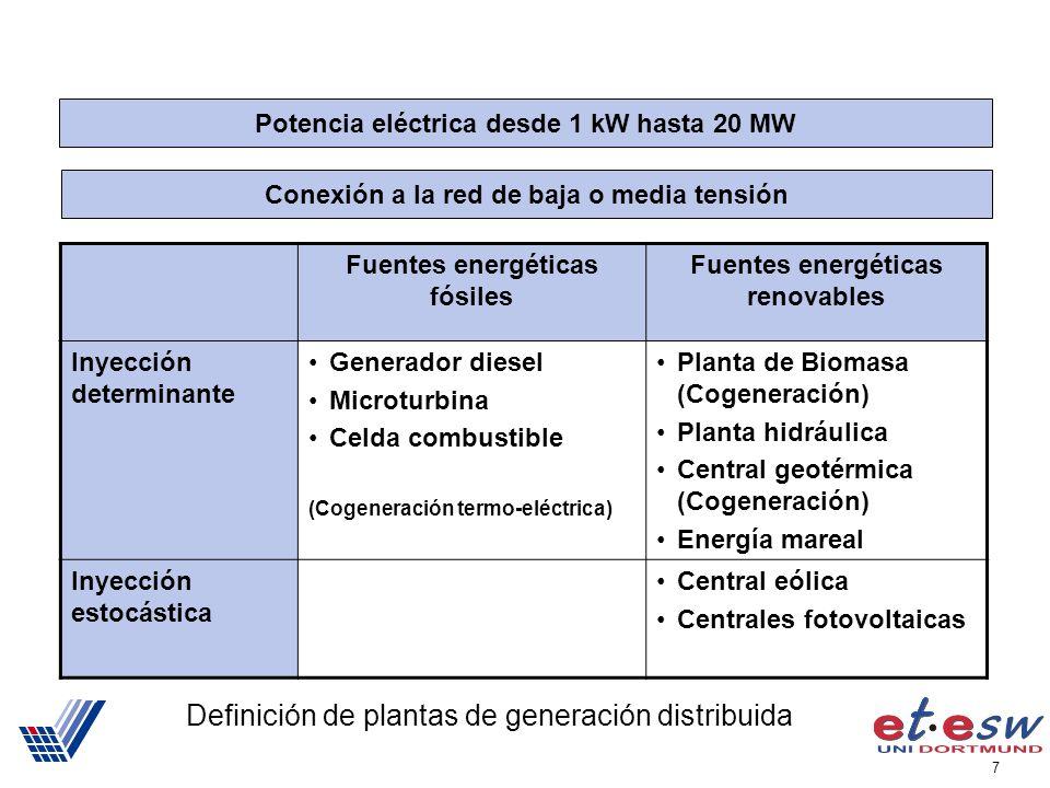 7 Definición de plantas de generación distribuida Potencia eléctrica desde 1 kW hasta 20 MW Conexión a la red de baja o media tensión Fuentes energéticas fósiles Fuentes energéticas renovables Inyección determinante Generador diesel Microturbina Celda combustible (Cogeneración termo-eléctrica) Planta de Biomasa (Cogeneración) Planta hidráulica Central geotérmica (Cogeneración) Energía mareal Inyección estocástica Central eólica Centrales fotovoltaicas