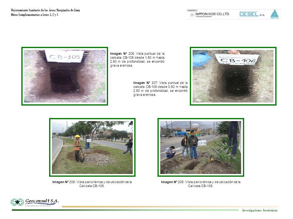 Mejoramiento Sanitario de las Áreas Marginales de Lima Obras Complementarias a Lotes 1, 2 y 3 Investigaciones Geotécnicas Imagen N° 208: Vista panorám