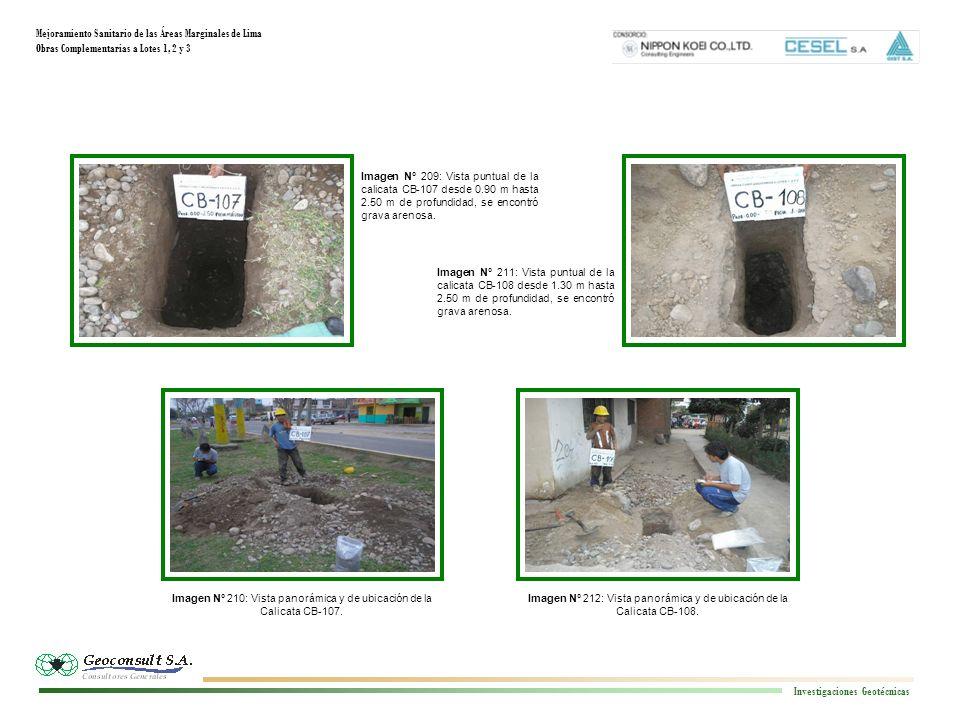 Mejoramiento Sanitario de las Áreas Marginales de Lima Obras Complementarias a Lotes 1, 2 y 3 Investigaciones Geotécnicas Imagen N° 209: Vista puntual