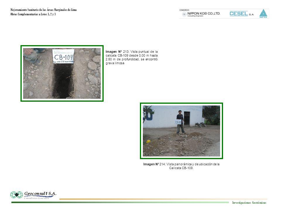 Mejoramiento Sanitario de las Áreas Marginales de Lima Obras Complementarias a Lotes 1, 2 y 3 Investigaciones Geotécnicas Imagen N° 213: Vista puntual