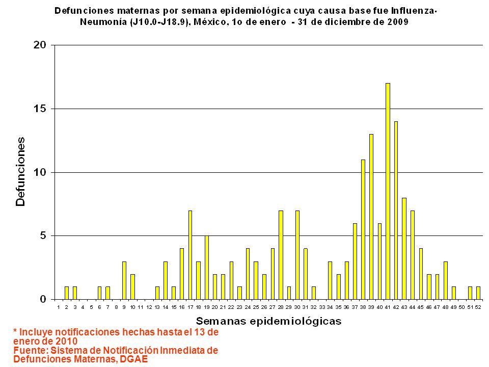 * Incluye notificaciones hechas hasta el 13 de enero de 2010 Fuente: Sistema de Notificación Inmediata de Defunciones Maternas, DGAE
