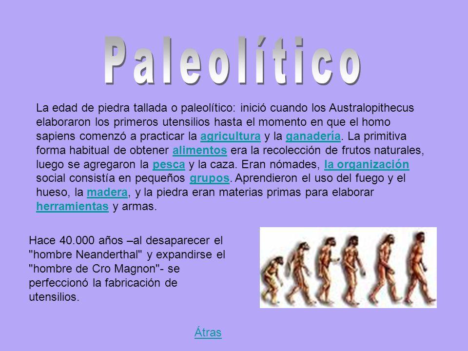 La edad de piedra tallada o paleolítico: inició cuando los Australopithecus elaboraron los primeros utensilios hasta el momento en que el homo sapiens comenzó a practicar la agricultura y la ganadería.
