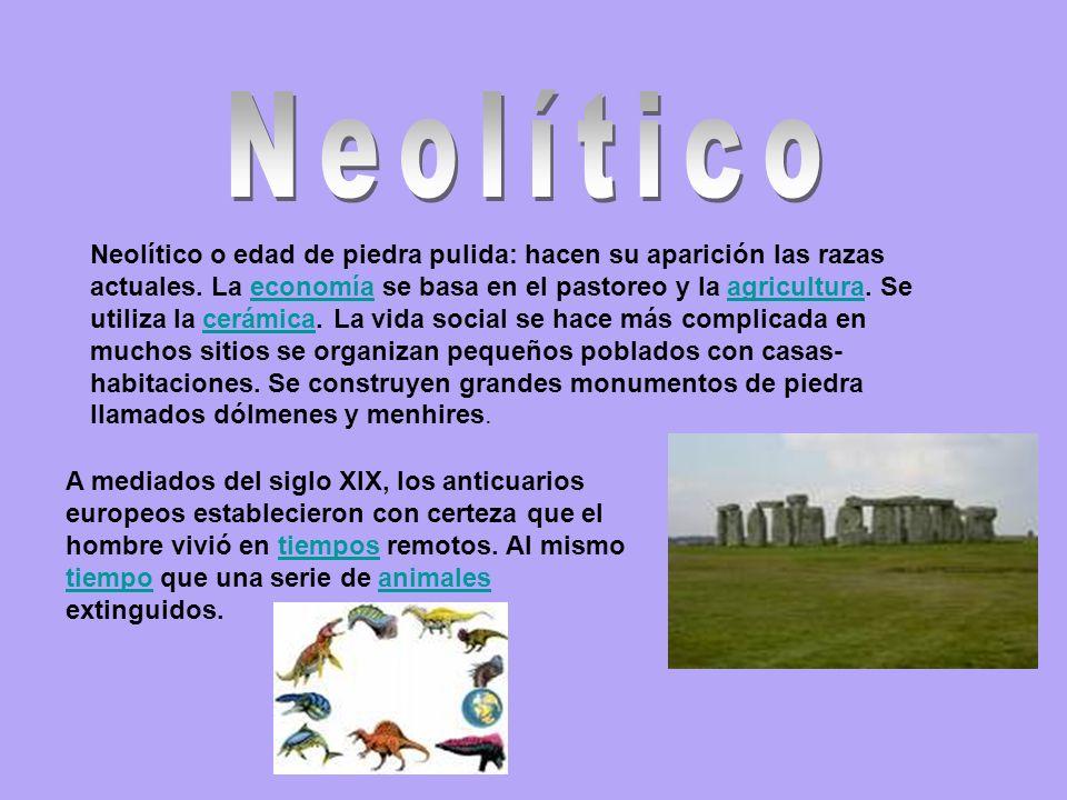 Neolítico o edad de piedra pulida: hacen su aparición las razas actuales.