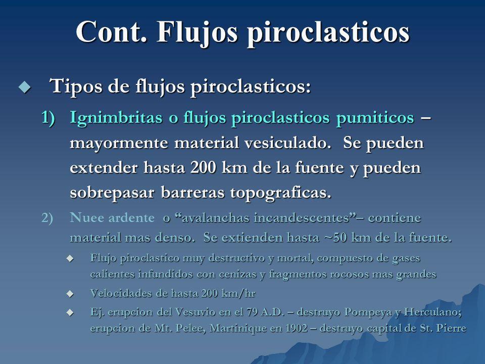 Cont. Flujos piroclasticos Tipos de flujos piroclasticos: Tipos de flujos piroclasticos: 1)Ignimbritas o flujos piroclasticos pumiticos – mayormente m