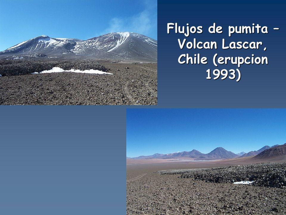 Flujos de pumita – Volcan Lascar, Chile (erupcion 1993)