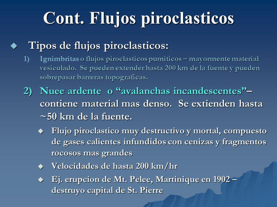 Cont. Flujos piroclasticos Tipos de flujos piroclasticos: Tipos de flujos piroclasticos: 1) o flujos piroclasticos pumiticos – mayormente material ves