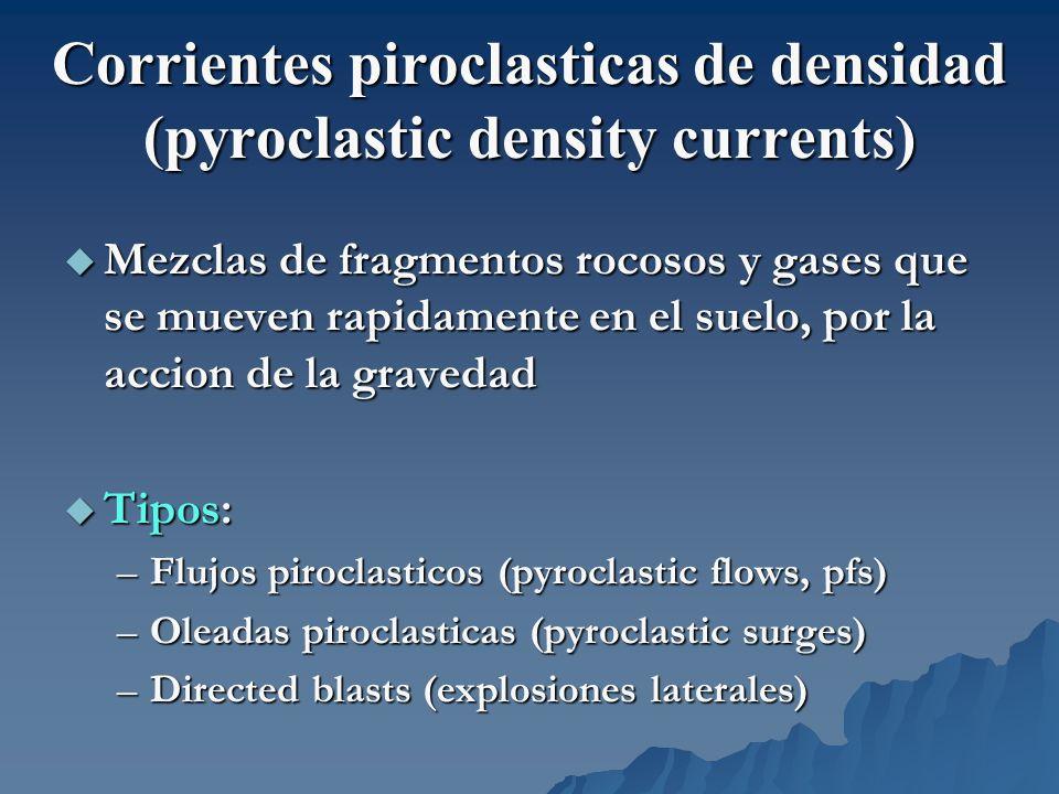 Corrientes piroclasticas de densidad (pyroclastic density currents) Mezclas de fragmentos rocosos y gases que se mueven rapidamente en el suelo, por l