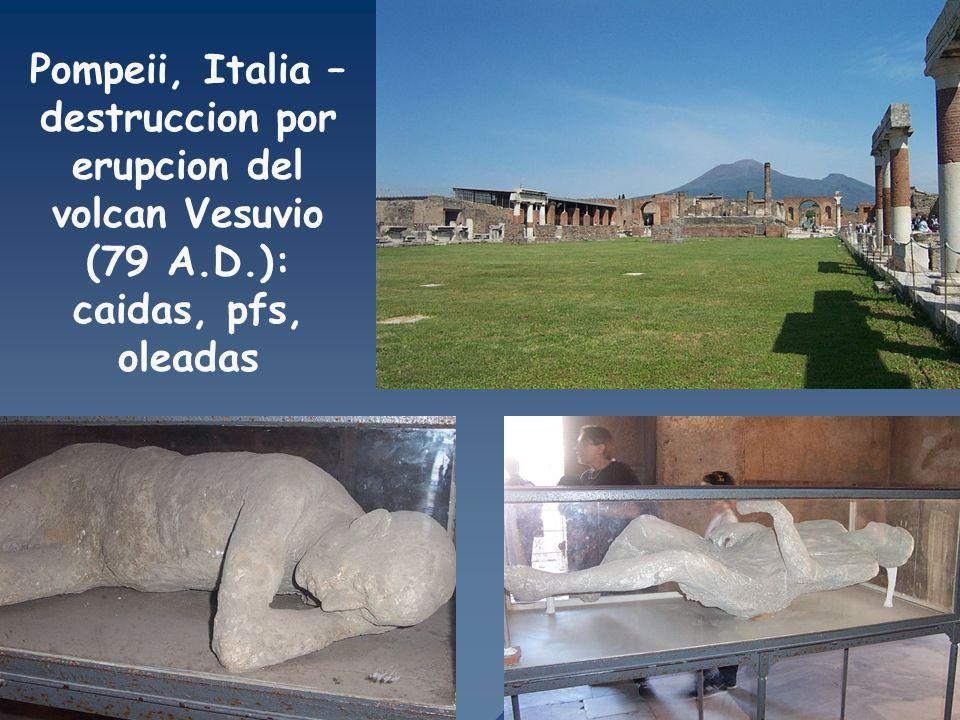 Pompeii, Italia – destruccion por erupcion del volcan Vesuvio (79 A.D.): caidas, pfs, oleadas