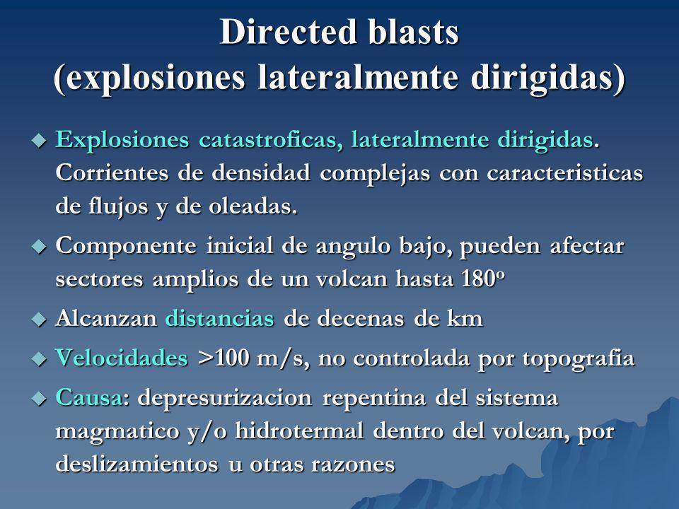 Directed blasts (explosiones lateralmente dirigidas) Explosiones catastroficas, lateralmente dirigidas. Corrientes de densidad complejas con caracteri