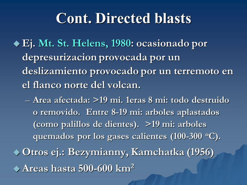 Cont. Directed blasts Ej. Mt. St. Helens, 1980: ocasionado por depresurizacion provocada por un deslizamiento provocado por un terremoto en el flanco