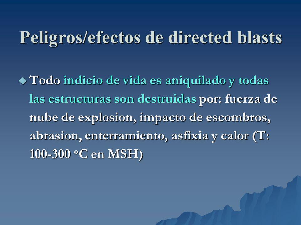 Peligros/efectos de directed blasts Todo indicio de vida es aniquilado y todas las estructuras son destruidas por: fuerza de nube de explosion, impact