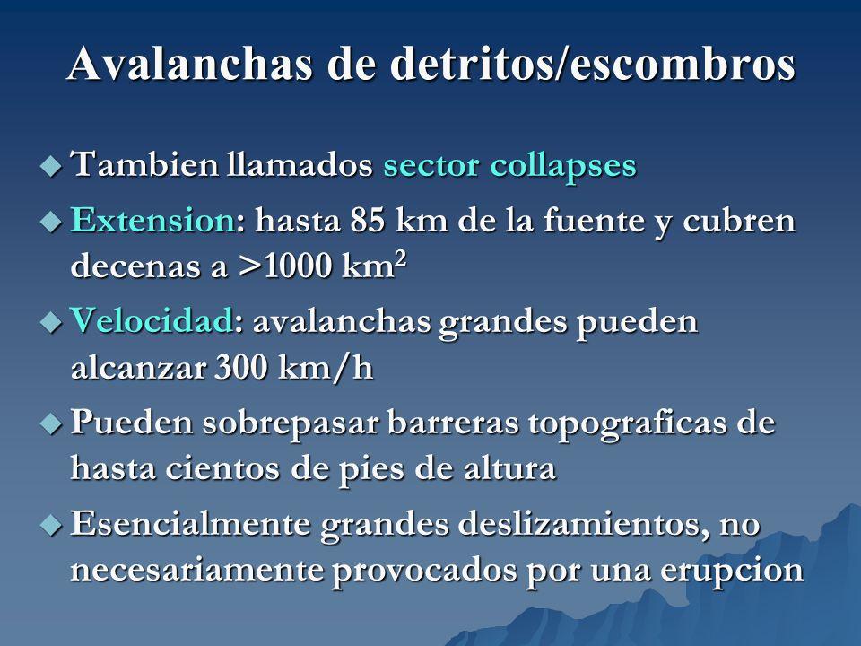 Avalanchas de detritos/escombros Tambien llamados sector collapses Tambien llamados sector collapses Extension: hasta 85 km de la fuente y cubren dece