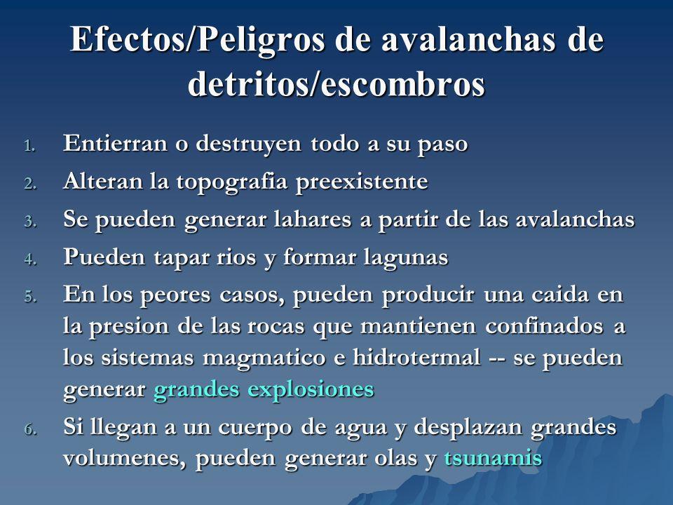 Efectos/Peligros de avalanchas de detritos/escombros 1. Entierran o destruyen todo a su paso 2. Alteran la topografia preexistente 3. Se pueden genera