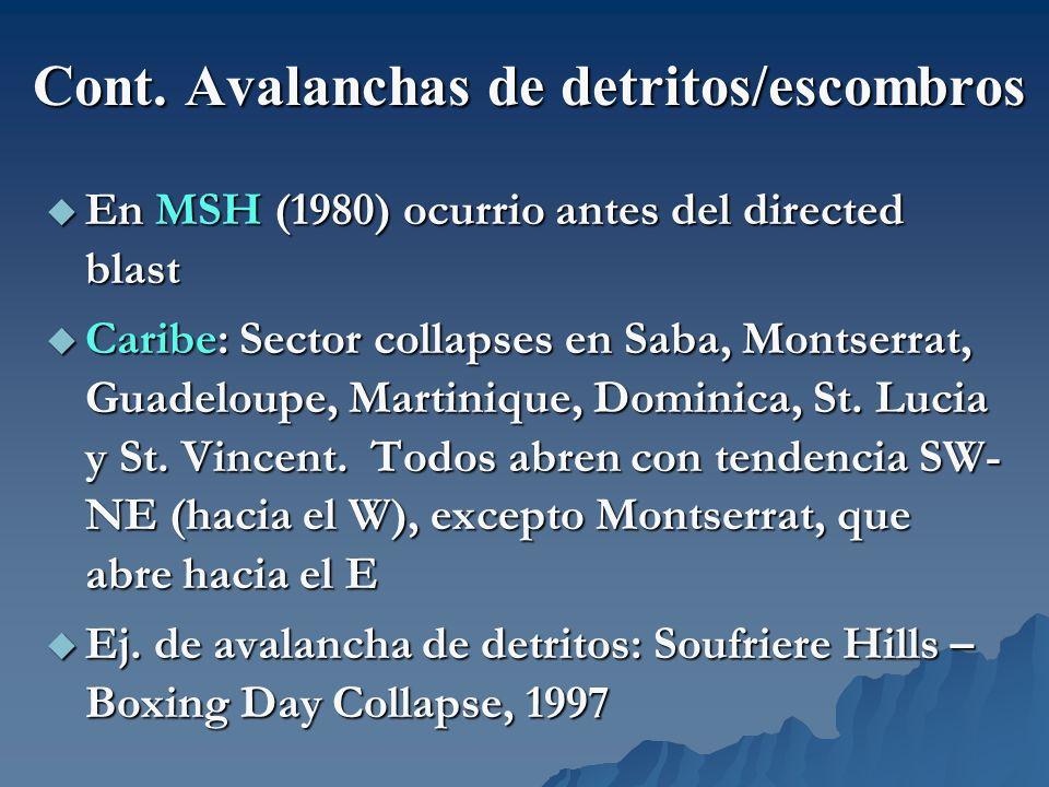 Cont. Avalanchas de detritos/escombros En MSH (1980) ocurrio antes del directed blast En MSH (1980) ocurrio antes del directed blast Caribe: Sector co
