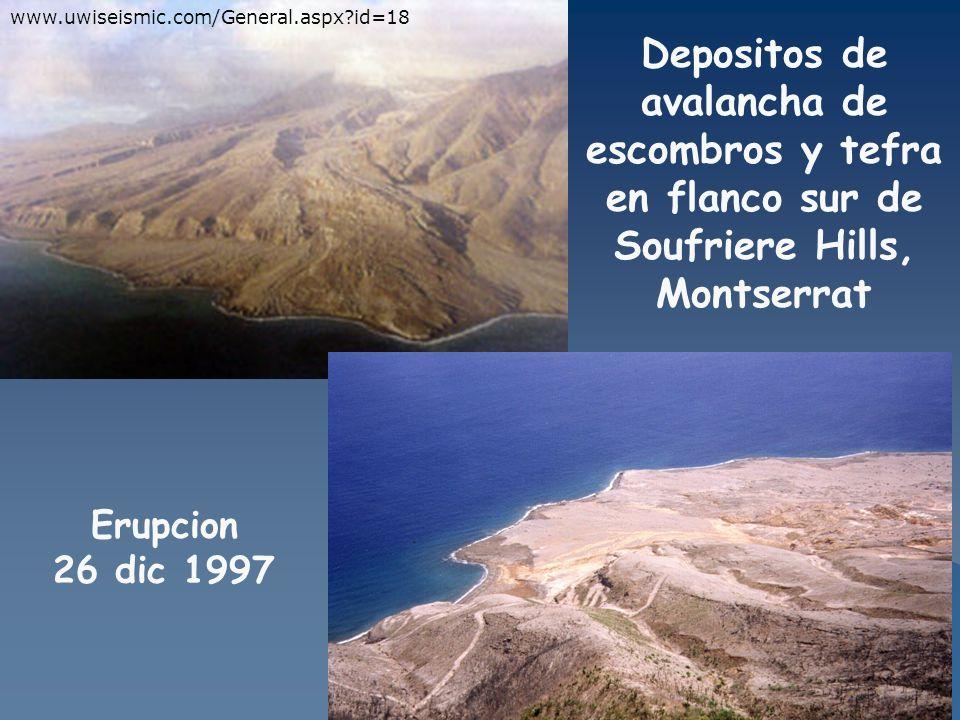Depositos de avalancha de escombros y tefra en flanco sur de Soufriere Hills, Montserrat www.uwiseismic.com/General.aspx?id=18 Erupcion 26 dic 1997
