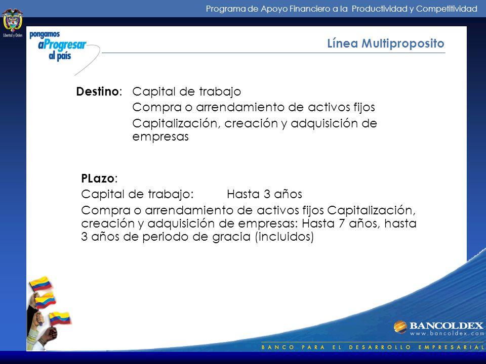 Programa de Apoyo Financiero a la Productividad y Competitividad Intermediarios de los Créditos Línea Multiproposito Intermediarios: : Establecimiento