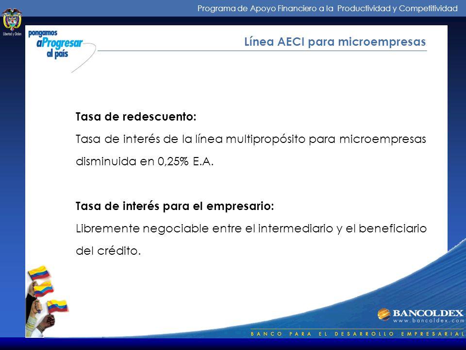 Programa de Apoyo Financiero a la Productividad y Competitividad Intermediarios de los Créditos Línea AECI para microempresas DESTINO: Capital de trab