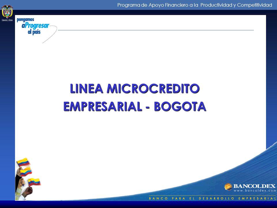 Programa de Apoyo Financiero a la Productividad y Competitividad Línea AECI para microempresas Tasa de redescuento: Tasa de interés de la línea multip