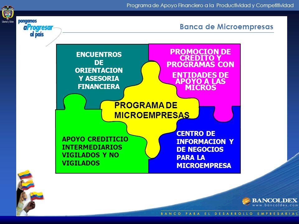 Programa de Apoyo Financiero a la Productividad y Competitividad Banca de Microempresas DEPARTAMENTO BANCA DE MICROEMPRESAS BANCOLDEX DEPARTAMENTO BAN