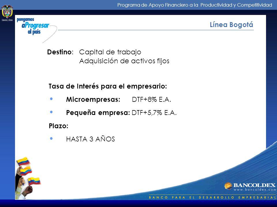 Programa de Apoyo Financiero a la Productividad y Competitividad ¿Cómo Operamos? Línea Bogotá Intermediarios: : Establecimientos de crédito Beneficiar