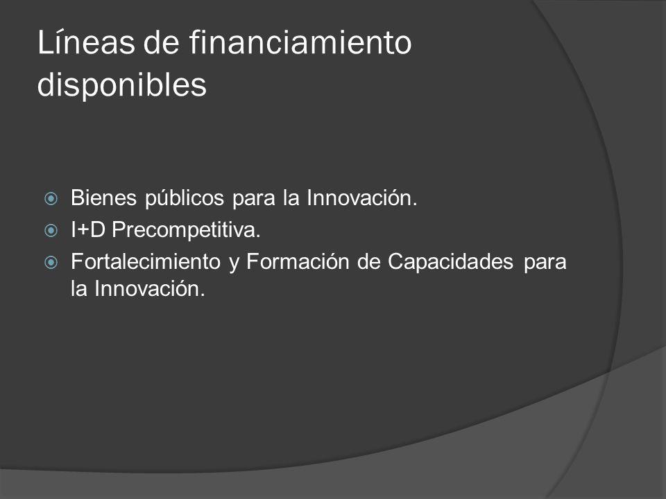 Líneas de financiamiento disponibles Bienes públicos para la Innovación.