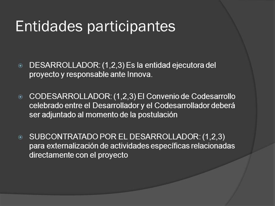 Entidades participantes DESARROLLADOR: (1,2,3) Es la entidad ejecutora del proyecto y responsable ante Innova.