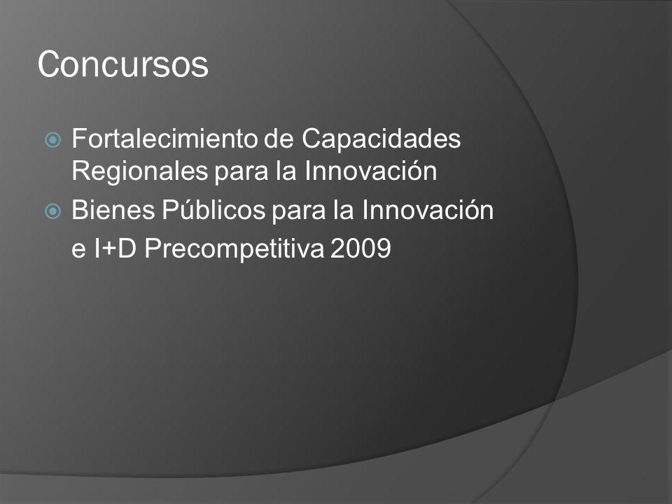 Concursos Fortalecimiento de Capacidades Regionales para la Innovación Bienes Públicos para la Innovación e I+D Precompetitiva 2009