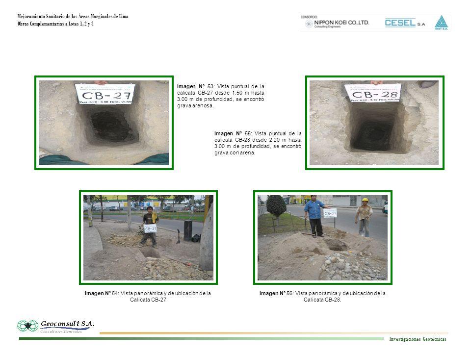 Mejoramiento Sanitario de las Áreas Marginales de Lima Obras Complementarias a Lotes 1, 2 y 3 Investigaciones Geotécnicas Imagen N° 56: Vista panorámica y de ubicación de la Calicata CB-28.