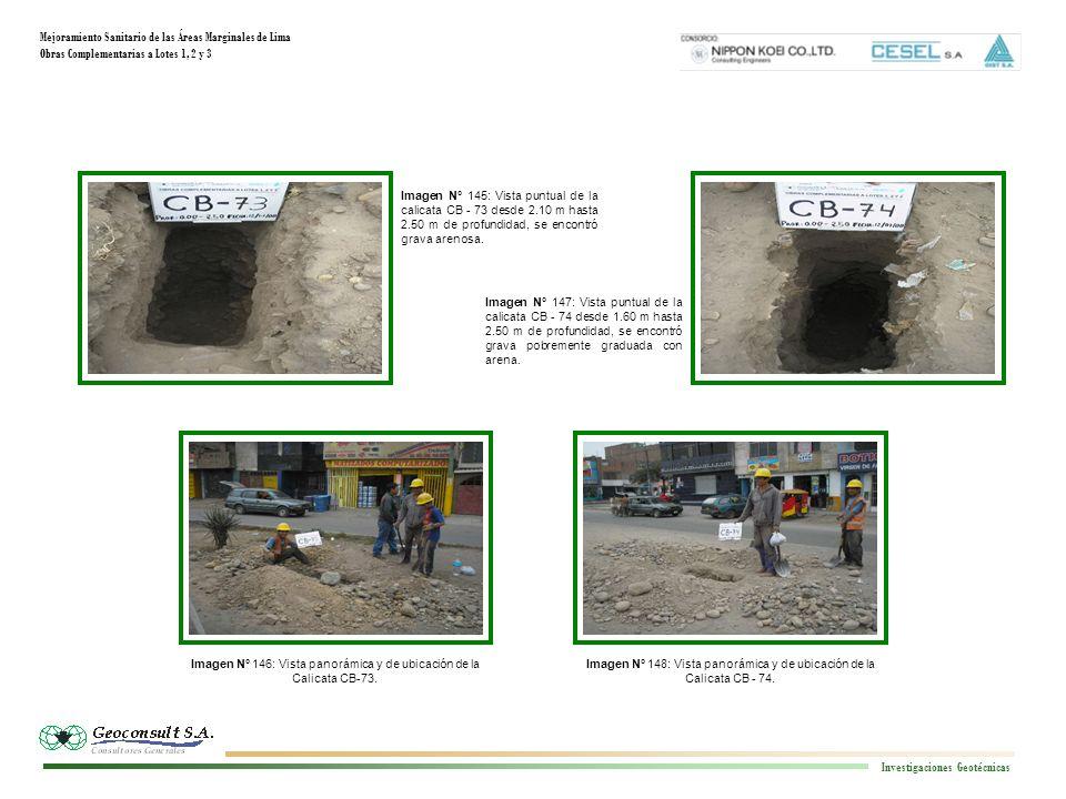 Mejoramiento Sanitario de las Áreas Marginales de Lima Obras Complementarias a Lotes 1, 2 y 3 Investigaciones Geotécnicas Imagen N° 148: Vista panorámica y de ubicación de la Calicata CB - 74.