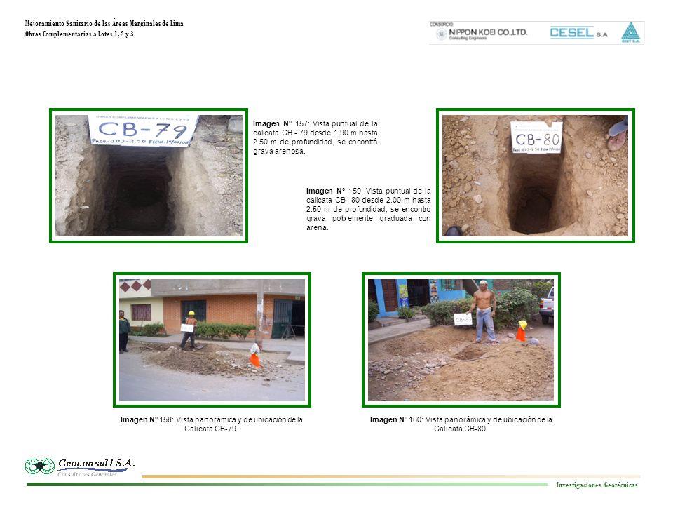 Mejoramiento Sanitario de las Áreas Marginales de Lima Obras Complementarias a Lotes 1, 2 y 3 Investigaciones Geotécnicas Imagen N° 160: Vista panorámica y de ubicación de la Calicata CB-80.